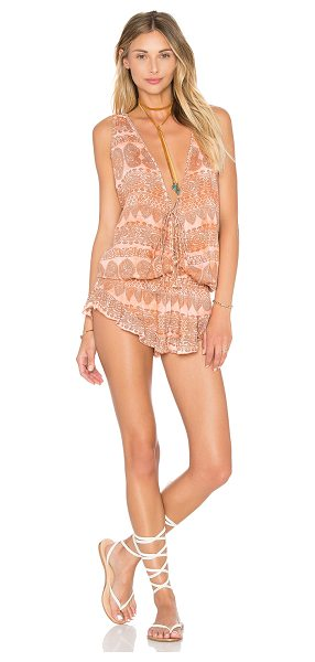 Tiare Hawaii Barrier Reef Romper in blush - 100% rayon. Hand wash cold. Front and back lace-up...