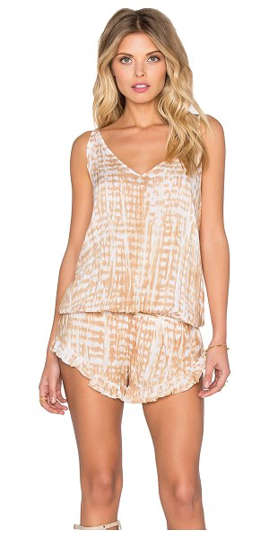 Tiare Hawaii Guava romper in beige - Rayon blend. Hand wash cold. Adjustable shoulder straps....