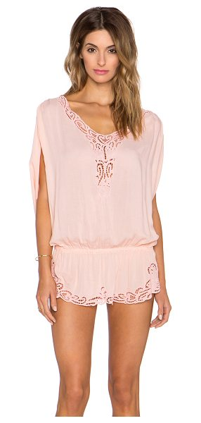 Tiare Hawaii Harlem mini dress in peach - 100% rayon. Hand wash cold. Unlined. Embroidered lace...