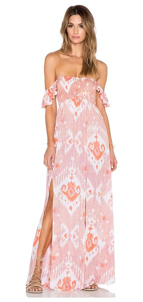 Tiare Hawaii Hollie Maxi Dress in pink - 100% rayon. Hand wash cold. Unlined. Smocked bodice....