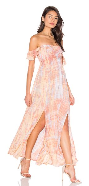 Tiare Hawaii Hollie Off Shoulder Dress in leo beige skins