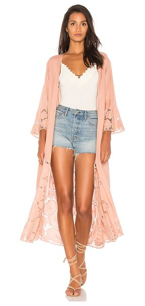 Tiare Hawaii Jagger Kimono in pink - 100% rayon. Hand wash cold. Open front. Eyelet lace...