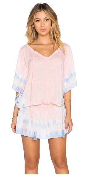 Tiare Hawaii Jimbaran rainbow trim tunic in pink - 100% rayon. Hand wash cold. Unlined. Front tie closure....