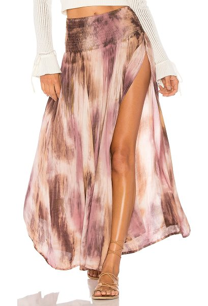 """Tiare Hawaii Rock Your Gypsy Soul Maxi Skirt in taupe - """"100% rayon. Hand wash cold. Unlined. Smocked elastic..."""