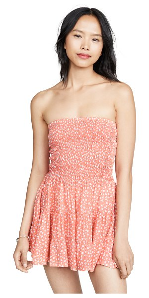 Tiare Hawaii strawberry wine dress in floral dot coral