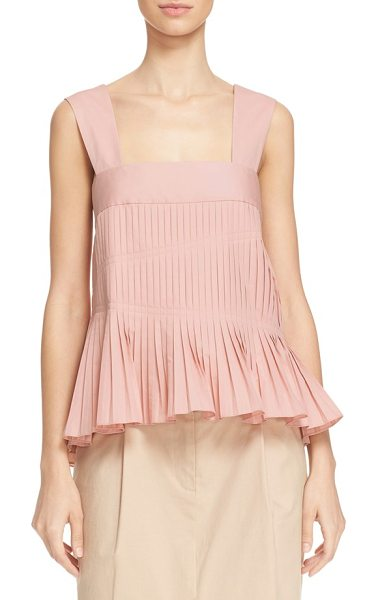 TIBI alexa pleated cotton tank - This striking square-neck tank made from crisp cotton...