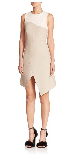 Tibi Anson two-tone stretch-wool dress in oatmeal-ivorymulti - Two tones of rich Italian stretch wool, sharply tailored...