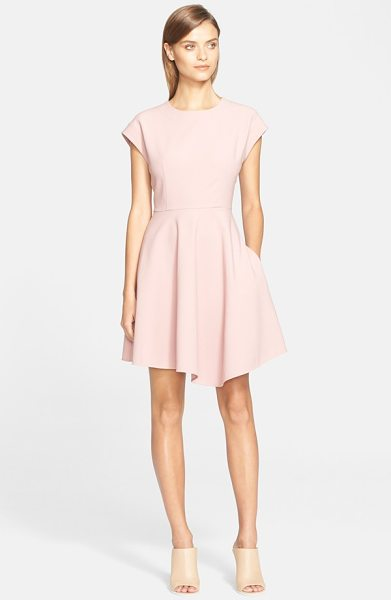 Tibi anson stretch woven dress in mineral blush - Cap sleeves and a full, rippling skirt enhance the...