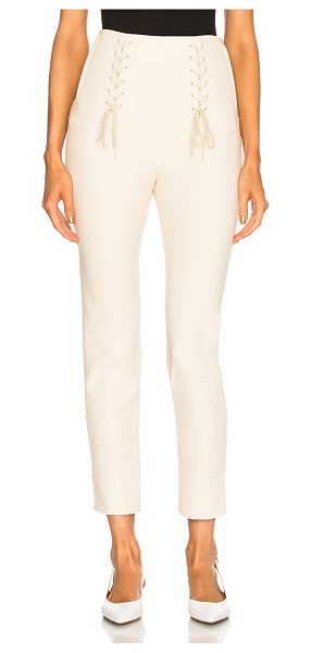 Tibi Anson Tie Pant in cream - Self: 62% poly 32% viscose 6% elastan - Lining: 100%...