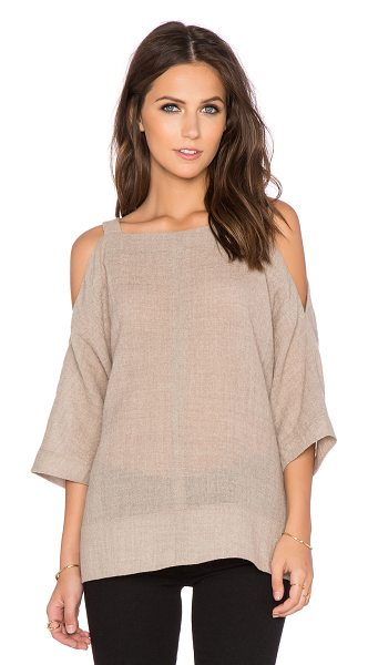 Tibi Aurora drape cut out shoulder top in taupe - Acrylic blend. Hand wash cold. Open shoulders....