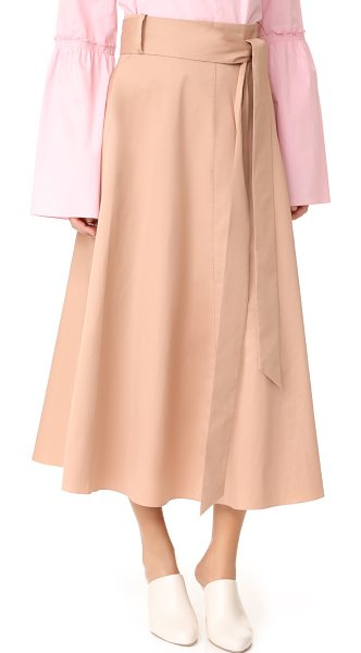 Tibi back wrap skirt in beige - A crisp Tibi skirt in a midi length. Wraparound sashes...