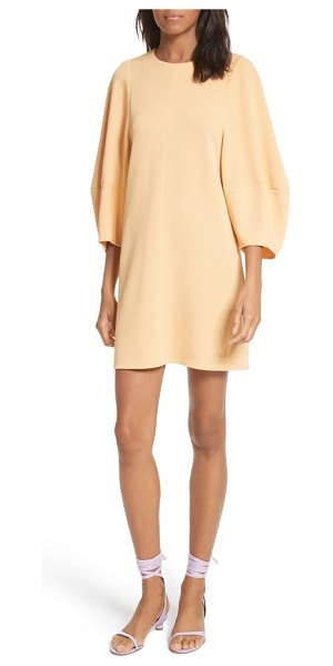 Tibi balloon sleeve mini dress in apricot - Softly structured and accented with subtle seam details,...