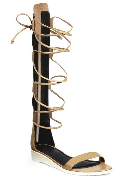 Tibi Beacher knee-high lace-up leather sandals in sand - Tibi takes its signature modern approach to chic...