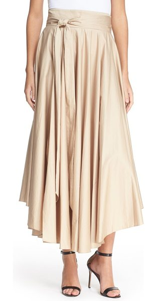 Tibi belted cotton maxi skirt in sand dollar - Lightweight cotton falls in lush ripples on this full...