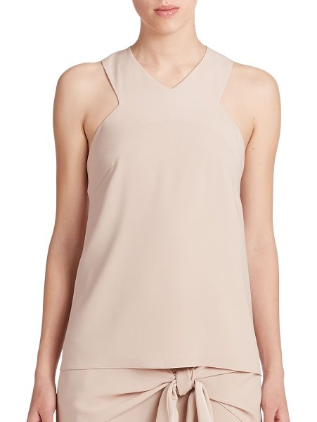 Tibi Bibelot crepe racerback tank top in palechai - Cut-in shoulders and a sporty racerback lend dynamic...