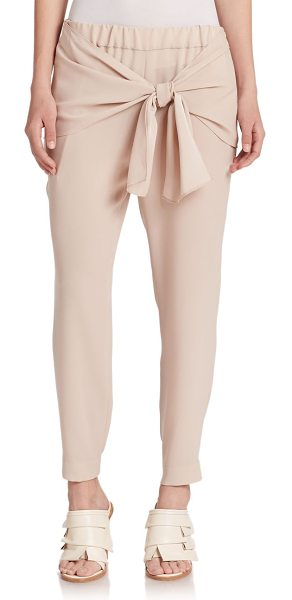Tibi Bibelot crepe tie-waist pants in palechai - A draped tie waist lends a sense of athletic cool to...