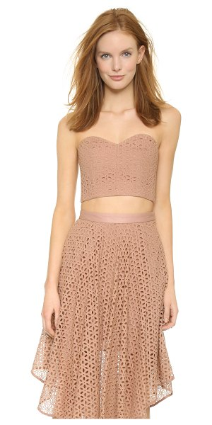Tibi Bustier corset in terracotta - Eyelet embroidery brings a feminine look to this Tibi...