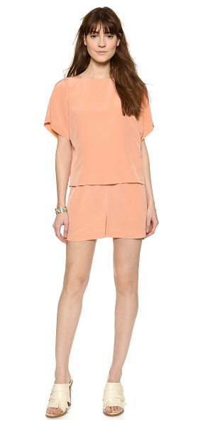 TIBI Cape romper - A voluminous overlay bodice falls lightly over the...
