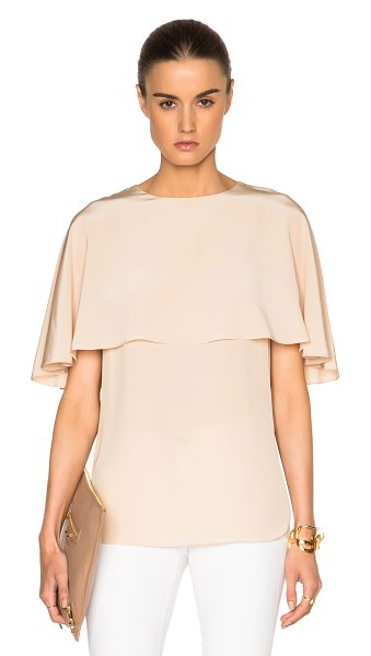 Tibi Cape top in neutrals - 100% silk.  Made in China.  Fabric overlay along top. ...