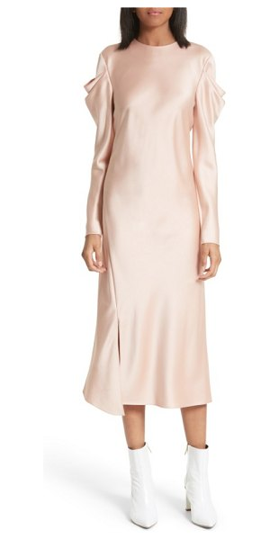 Tibi celestia drape sleeve midi dress in blush - Artfully draped sleeves bring modern romance to an...
