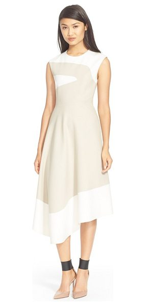 Tibi colorblock sleeveless dress in bone/ polar ivory - A soft earthtone palette brings a sense of serenity to a...