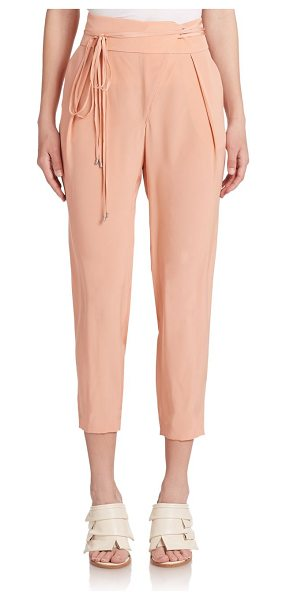 Tibi Cropped silk pants in momopeach - Silk trousers that balance boyish charm with timeless...