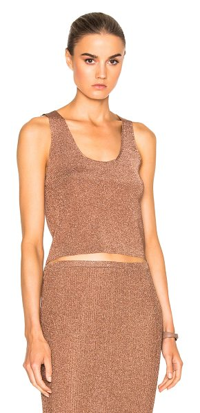 Tibi Cropped Sleeveless Top in rose gold - 82% viscose 18% metallized poly. Made in China. Dry...