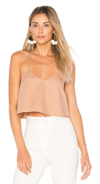 TIBI Cropped Tank With Shirred Back in brown - Cotton blend. Dry clean only. Back shirred ruffle...