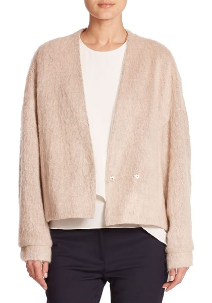 Tibi Deep v-neck cozy jacket in lightpink - An Italian-crafted mohair-infused blend softly textures...
