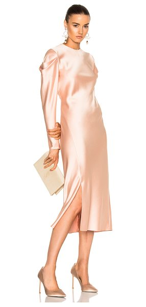 Tibi Drape Sleeve Dress in pink,neutrals - Self: 100% poly - Lining: 100% silk.  Made in China. ...