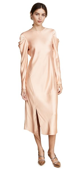 TIBI drape sleeve satin dress - Cutouts accent the puff sleeves on this elegant satin...