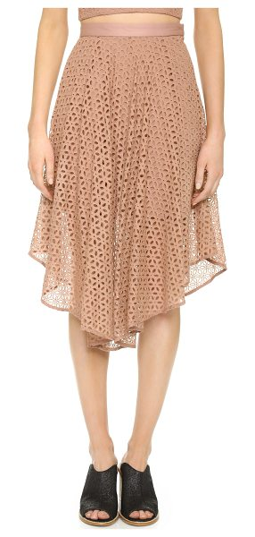 Tibi Eyelet skirt in terracotta - Allover embroidery brings a sweet, feminine look to this...