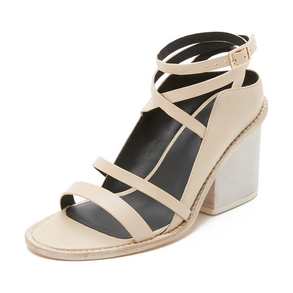 Tibi Faye sandals in nude - Tibi sandals made from sturdy, pebbled leather. The...