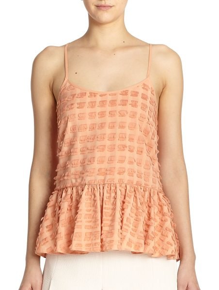 Tibi Fil coupe fringe tank top in momopeach - A fluttery, feminine top characterized by allover...