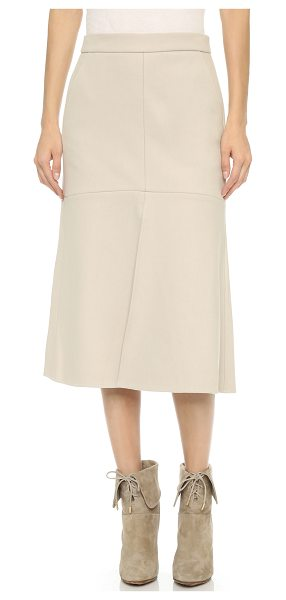 Tibi Front slit midi skirt in bone - Fused felt brings subtle structure to this A line Tibi...