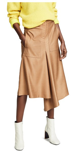 Tibi high waisted drape skirt in camel - Fabric: Stretch sateen Draped silhouette Knee length...