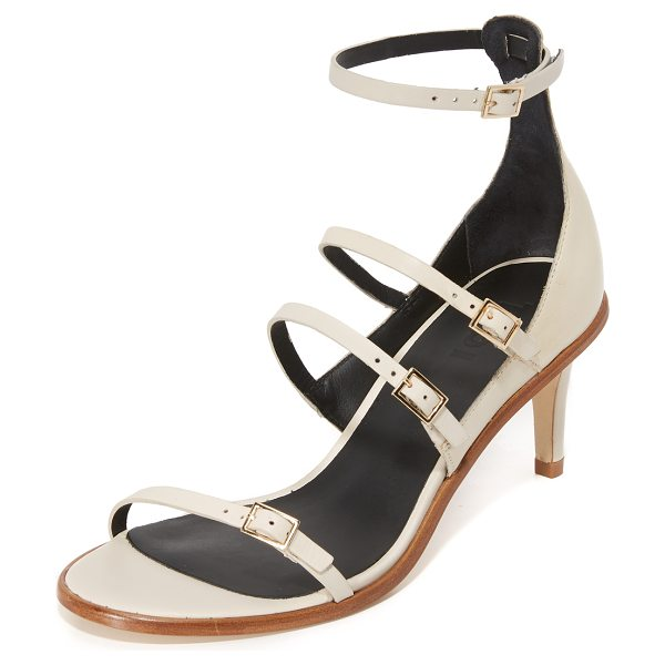 Tibi isabel sandals in pumice oat - Slim buckle straps accents these refined Tibi sandals....