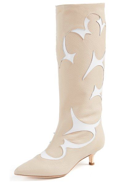 Tibi jagger boots in natural/white multi - Leather: Goatskin Patent trim Western detailing Slip-on...