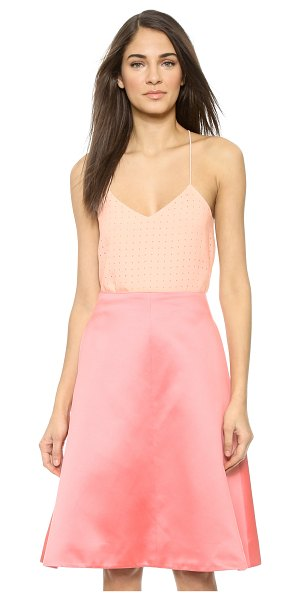 Tibi Laser cut cami in blush - Rows of precise cutouts lend enticing texture to this...