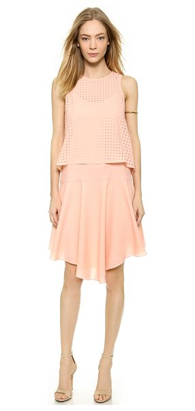 Tibi Laser cut sleeveless dress in blush - An optional laser cut overlay brings an airy accent to...