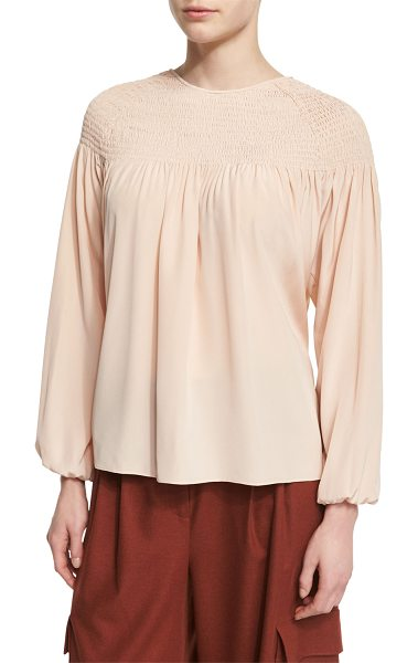 "Tibi Long-Sleeve Smocked Silk Top in apricot - Tibi blouse in heavy silk. Approx. length: 25""L from..."