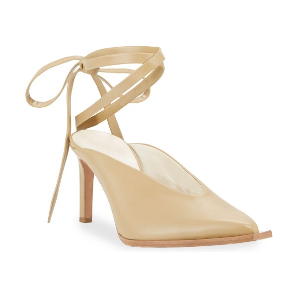Tibi Neima Leather Ankle-Tie Pumps in butterscotch