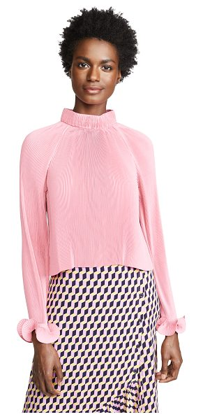 Tibi pleated cropped top in pink - Fabric: Plain weave Micropleats Structured collar...