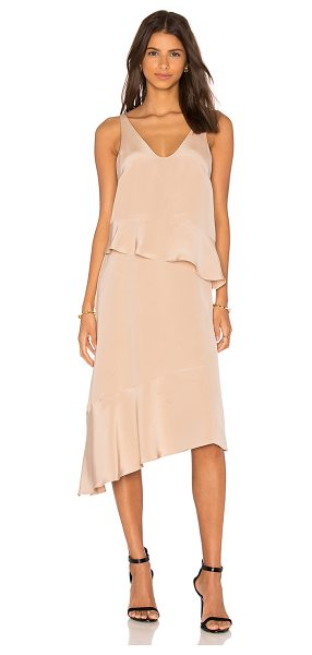 Tibi Pleated Double Layer Dress in beige - 100% silk. Dry clean only. Unlined. TIBI-WD502....