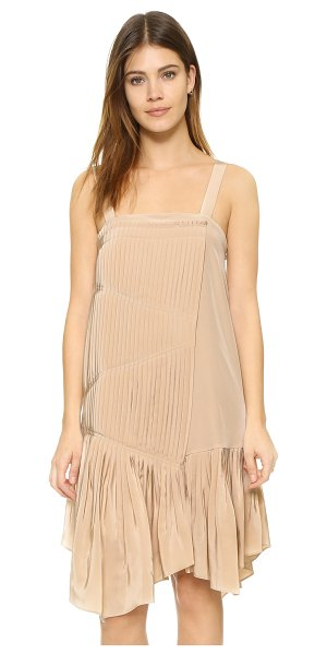 Tibi Pleated strappy dress in morro sand - Narrow knife pleats add volume to this silk Tibi dress,...