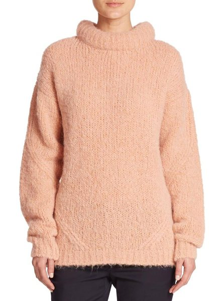 Tibi Roll-neck pullover sweater in pink - A rich alpaca-merino wool blend and an oversized...