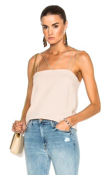 Tibi Savanna Crepe Strappy Cami in neutrals - Self: 55% triacetate 45% poly - Contrast & Lining: 100%...