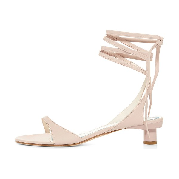 Tibi Scott Ankle-Tie Leather Sandals in light pink
