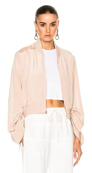 Tibi Sculpted Bomber Jacket in pink - Self: 100% silk - Lining: 95% poly 5% elastan.  Made in...