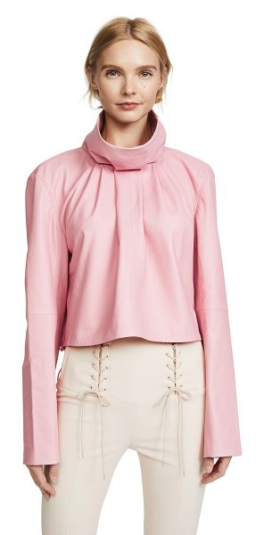 Tibi sculpted crop top in soft pink - Leather: Lambskin Pullover style Cropped profile...